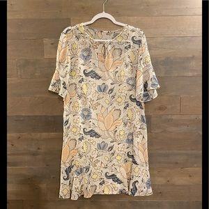 LOFT - Floral Shimmer Flounce Dress